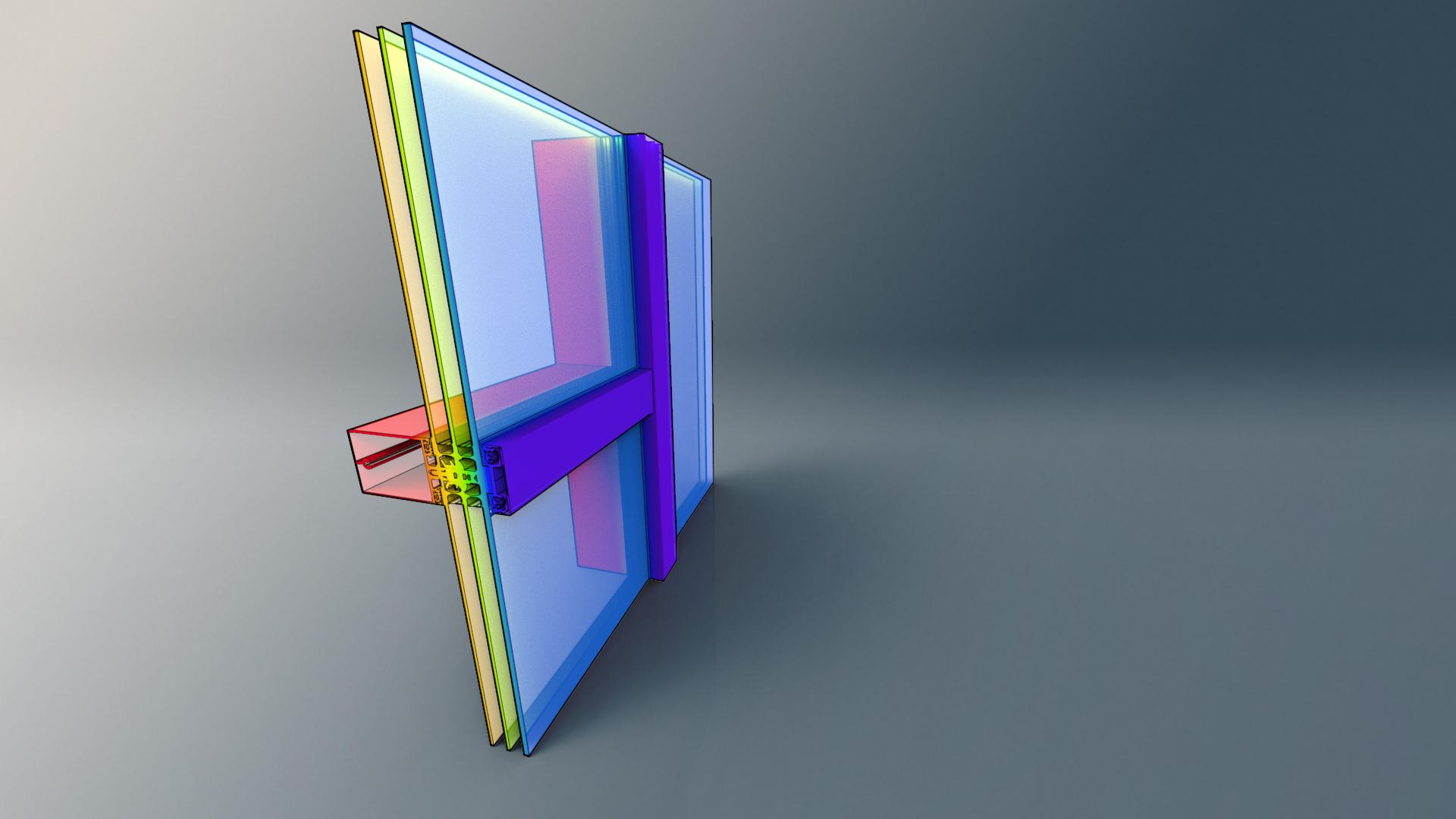 Schueco snitt av vindu illustrasjon