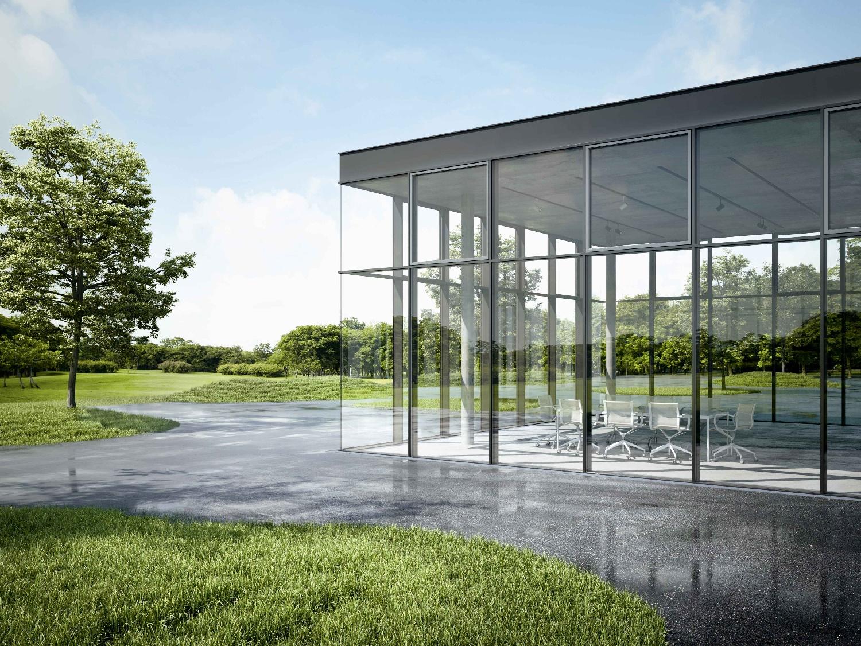 bindingsverksvegg med glass som fremstår som en glassfasade