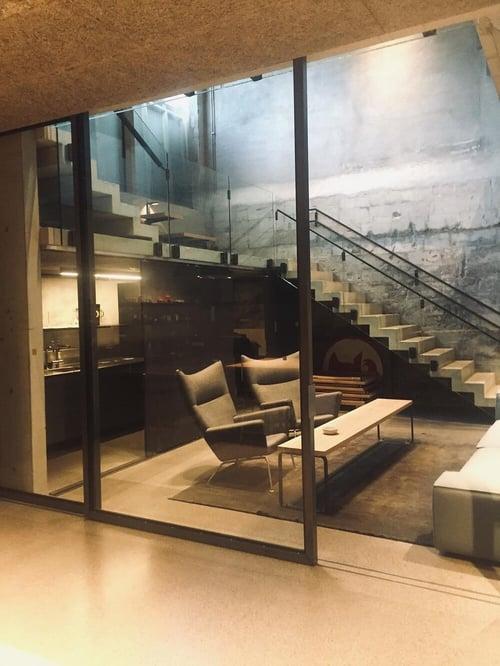 Store Schüco Jansen stål skyvedørene. Fotograf Ellen Ledsten