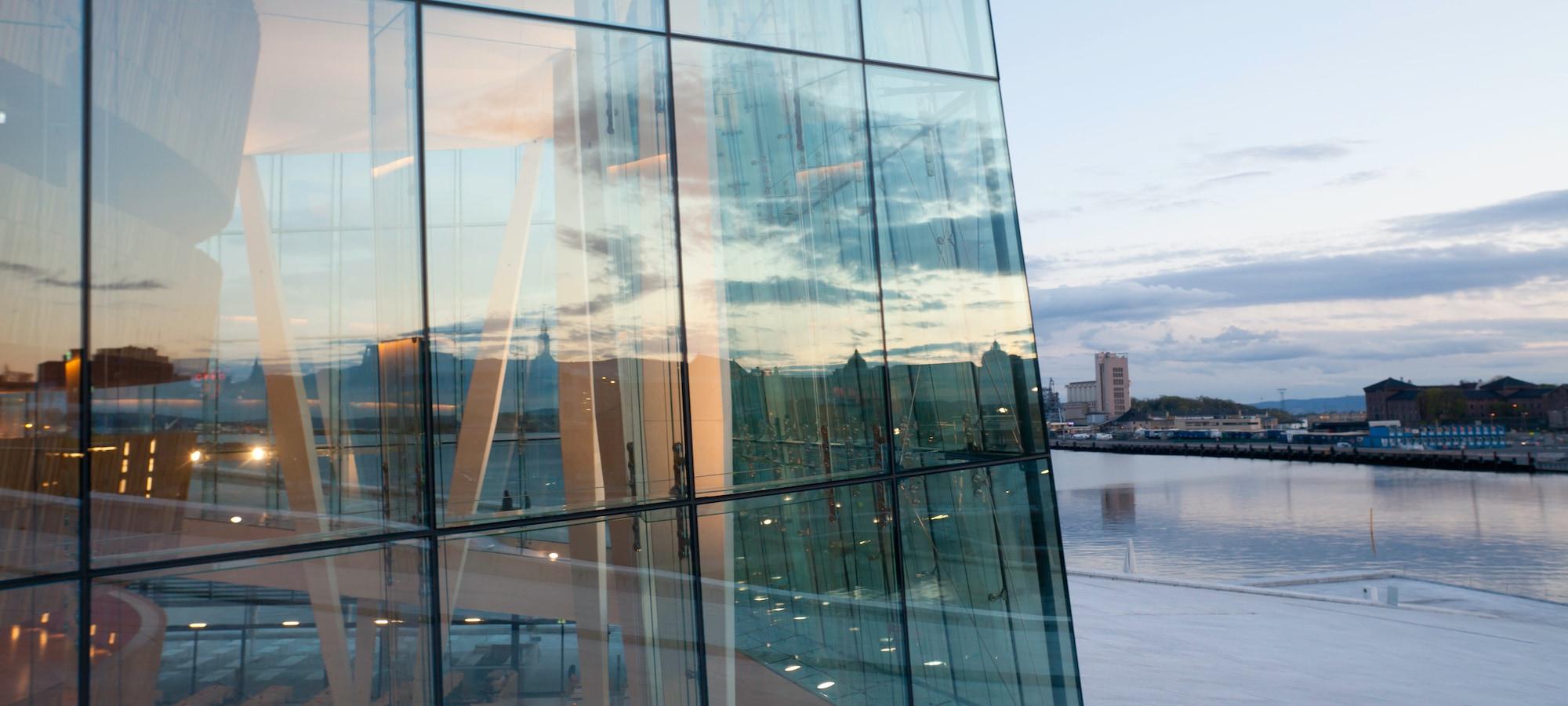 Den norske opera nærbilde av glassfasade